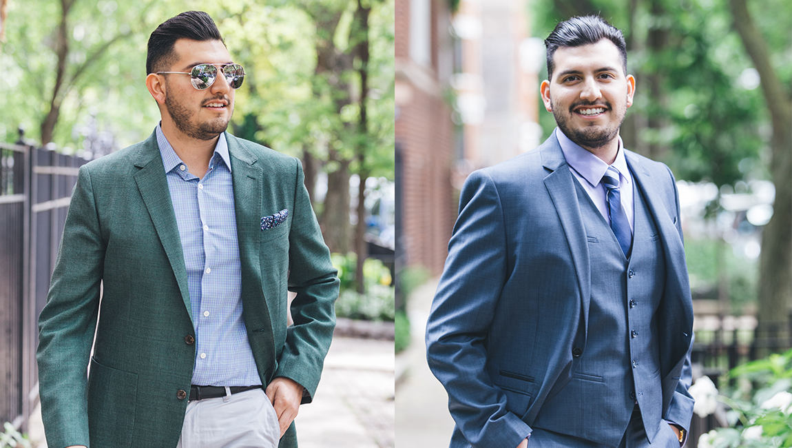 Green blazer and express suit