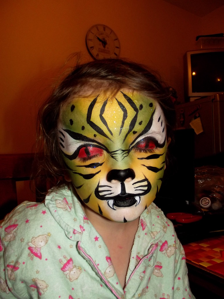 Scary green tiger Face Painting | Some faces i have ...