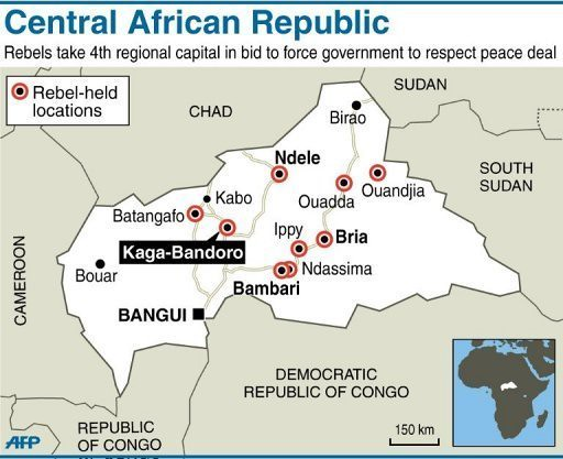 Map of Central African Republic where rebels have taken th Flickr