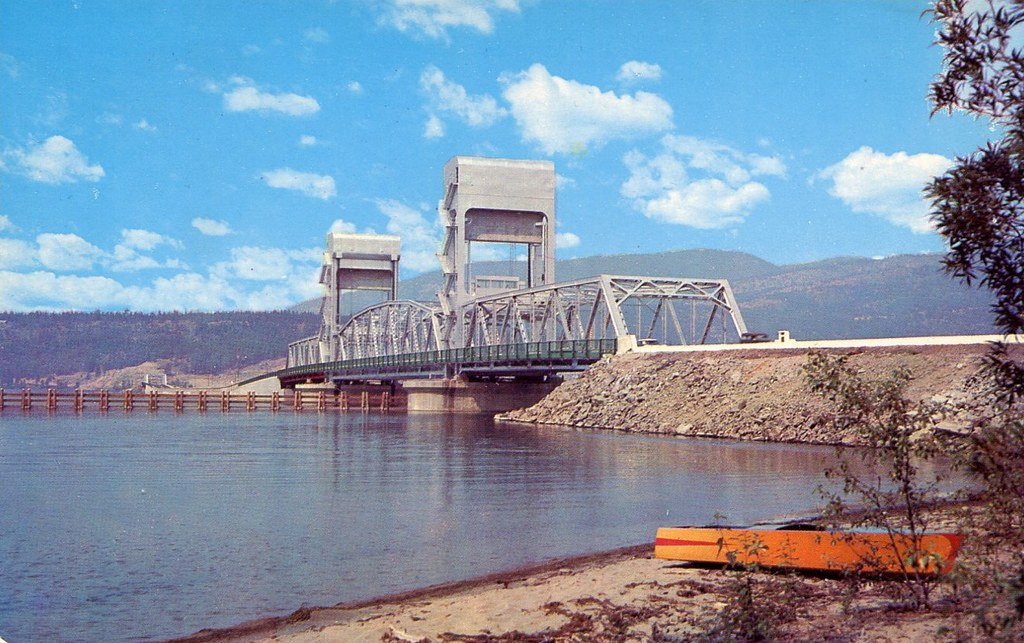 Princess Margaret Pictures >> Postcard: Okanagan Lake Bridge, Kelowna, BC, c.1960 | Flickr