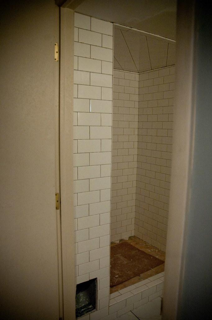 basement bathroom remodel | subway tile in shower - shelves ...