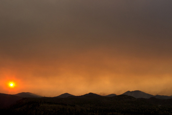 Smoke over the Jemez Mountains during the 2011 Las Conchas wildfire.