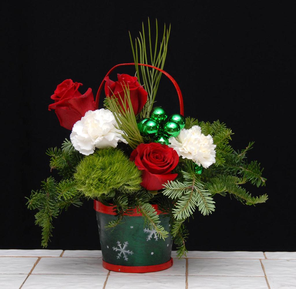 Small Christmas Basket Flower Arrangements Small