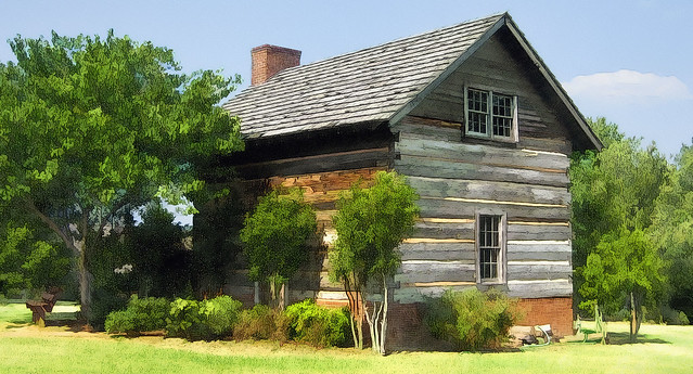 Cherokee Indian Farm And Dwelling House Log Cabin And Bri
