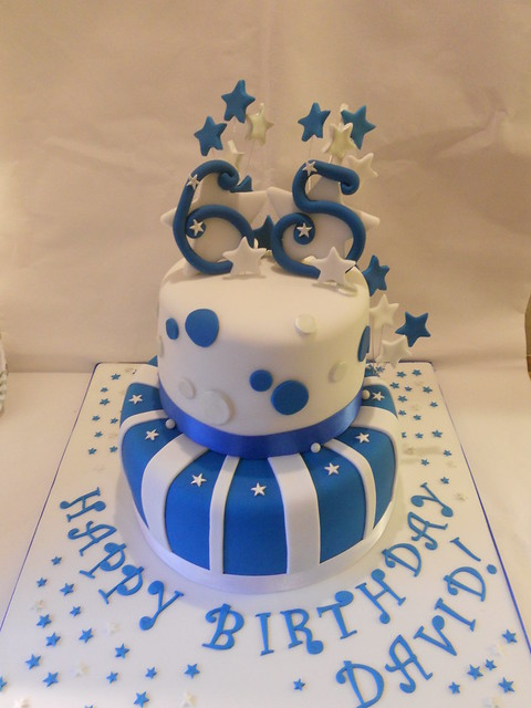 Blue And Silver Birthday Cakes Blue silver white 65th