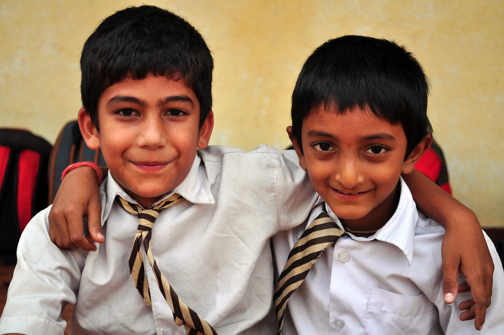2 Indian Boys In School Uniform- Brotherhood  Vikas -8525