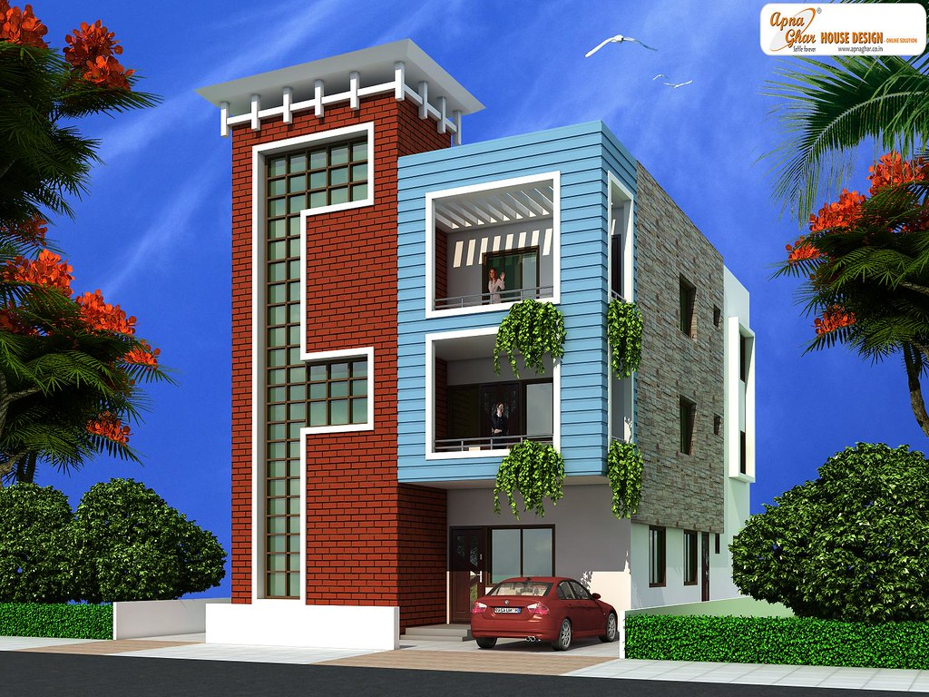 Triplex house design 12m x 20m this is a beautiful for Narrow floor plans with front elevation