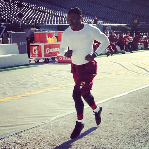 #Redskins QB Robert Griffin III emerges for a pregame jog prior to today's game vs. the Eagles. #HTTR | by Extremeskins