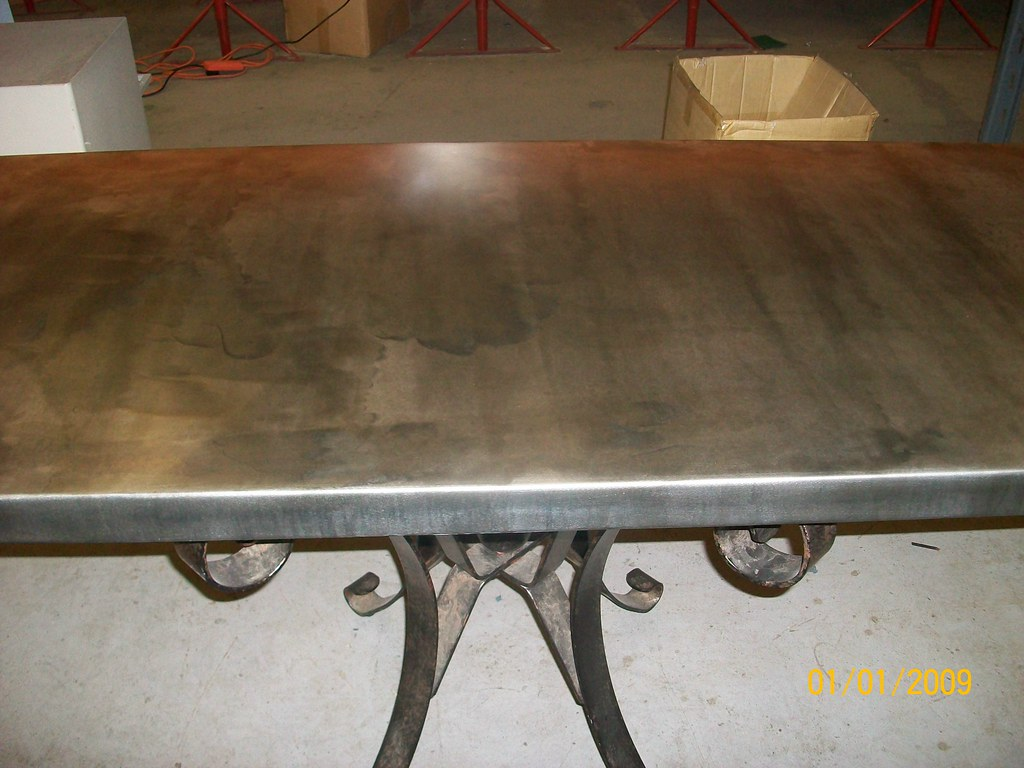 Superior ... 13   50mm Zinc Table Top WithLight Patina | By Metal Sheets Limited