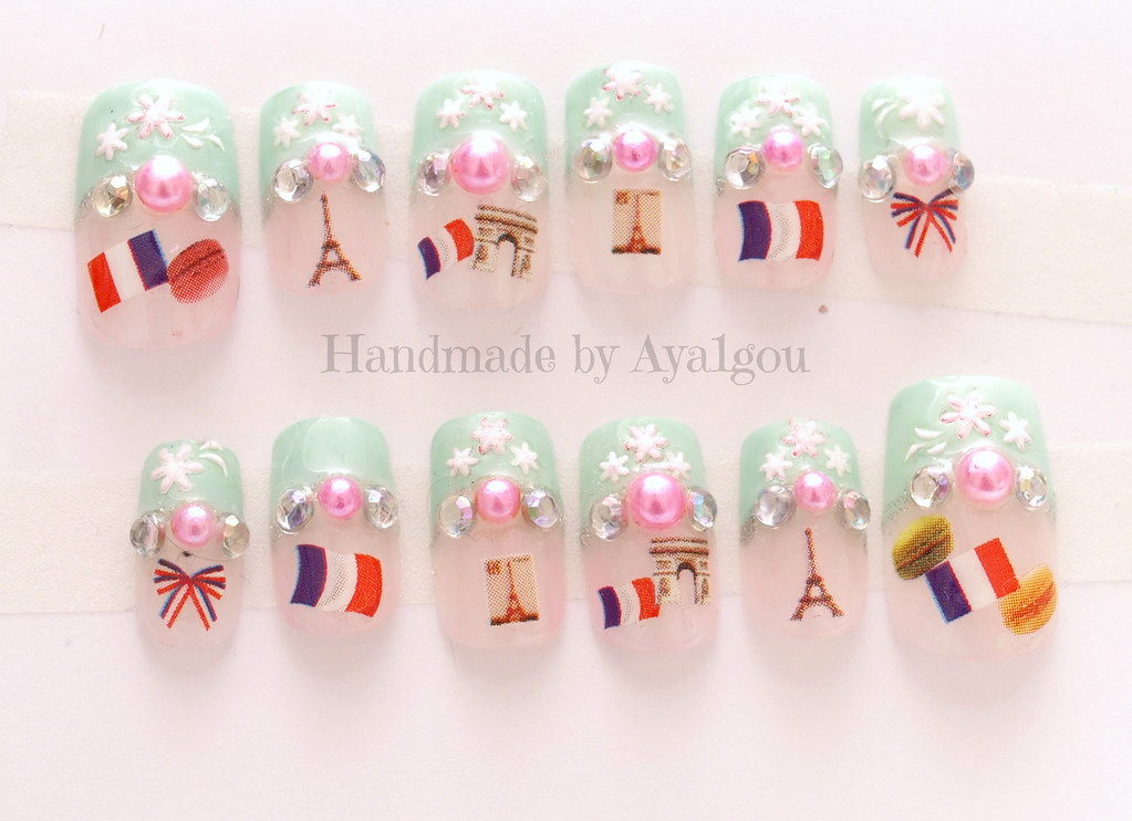 Paris themed nails | Handmade by me ^^ Link in my profile pa ...