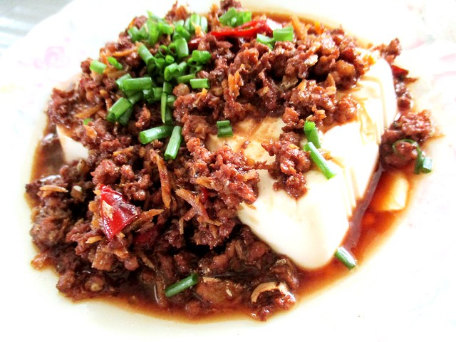 Tofu with minced meat and ikan bilis 2