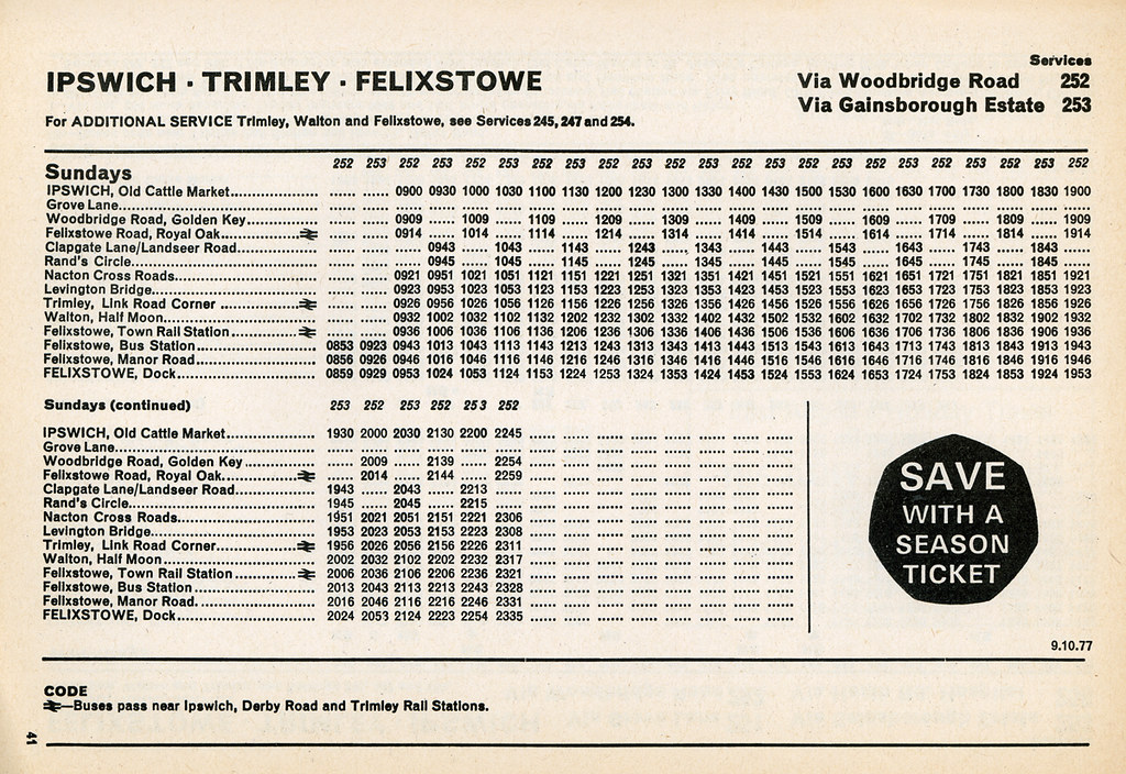 Eastern Counties Bus Timetable Ipswich To Felixstowe Sundays October 1977 By Bristolre2007