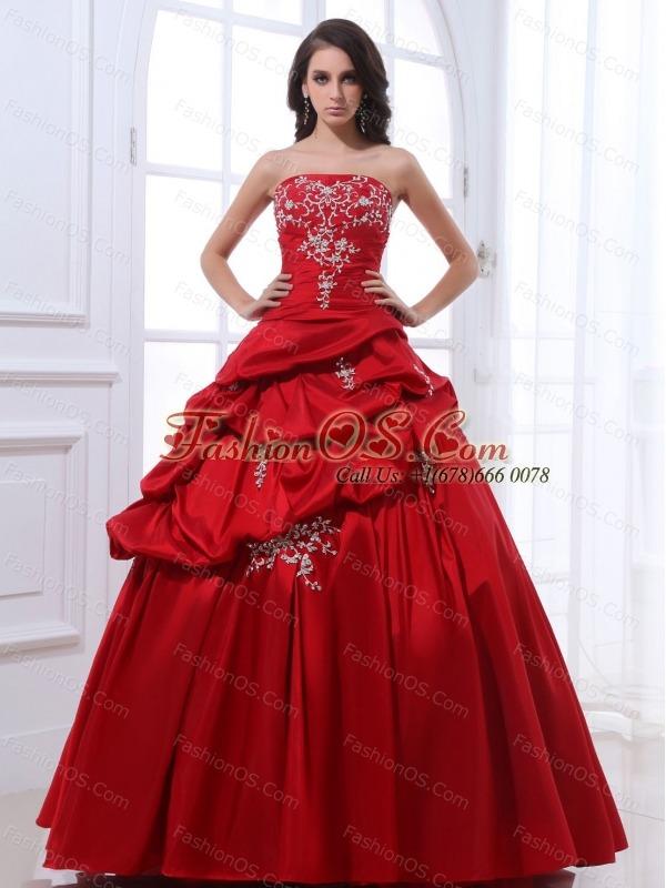 1228d8d94db ... Aliceinthemirror Wine Red Appliques Quinceanera Dress Taffeta In 2013  fashionos.com