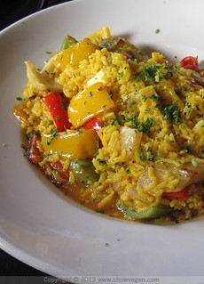 Veggie Paella at Rooster Creek Tavern | by chow vegan