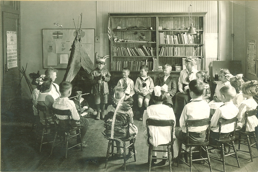 Classroom Program With Students In Native American Costume