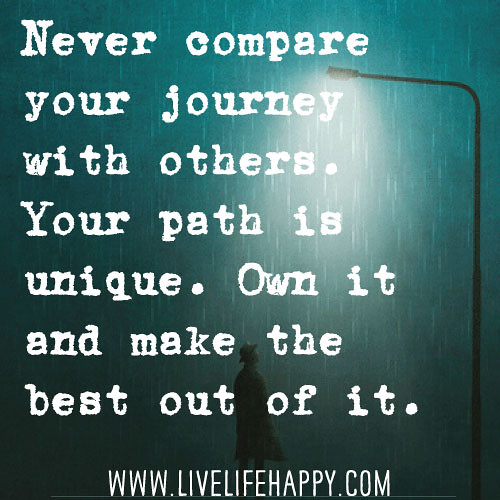 Love Quotes Journey: Never Compare Your Journey With Others. Your Path Is Uniqu
