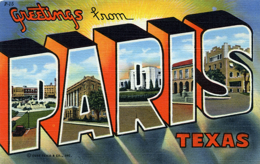 Greetings from paris texas large letter postcard flickr greetings from paris texas large letter postcard by shook photos m4hsunfo