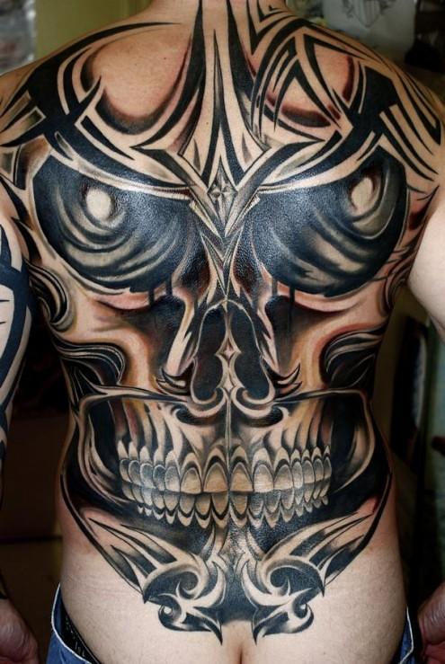 Tribal Skull Tattoo Design For Man Back 495x739 More Great Flickr