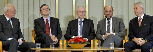 From left to right: Geir Lundestad, José Manuel Barroso, Herman Van Rompuy, Martin Schulz and Thorbjorn Jagland | by European Parliament
