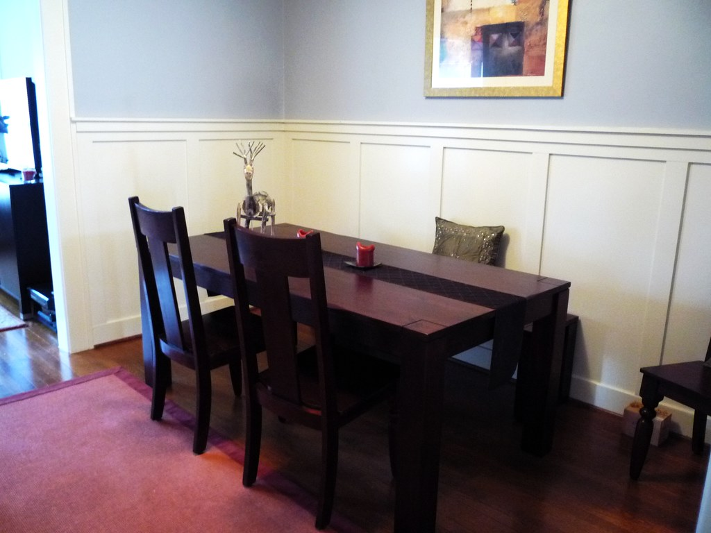 Gray Dining Room Table Setup