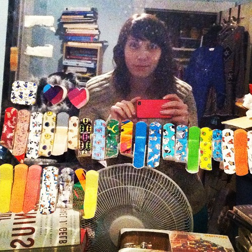 In middle school I collected cute bandaids and stuck them to my bedroom mirror. A TOTALLY normal hobby. #ImNormal | by Colleen AF Venable