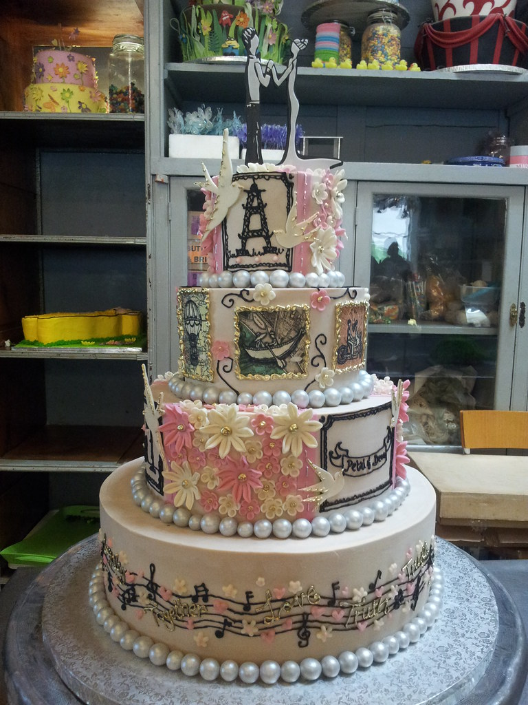 4-tier Wicked Chocolate wedding cake iced in ecru white ch… | Flickr