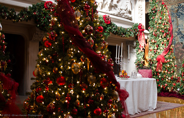 Christmas decorations in the banquet hall flickr photo for Christmas hall decorations