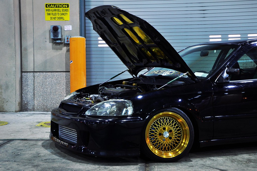 Klutch wheels sl 1 24k gold on vraceworks honda civic coup for Gold honda civic