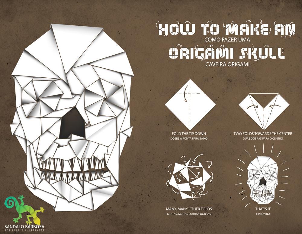 origami skull a ideia era mesmo brincar com a forma de