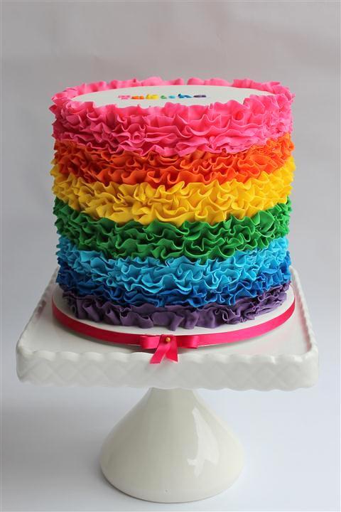 Rainbow ruffle cake :) kim Flickr