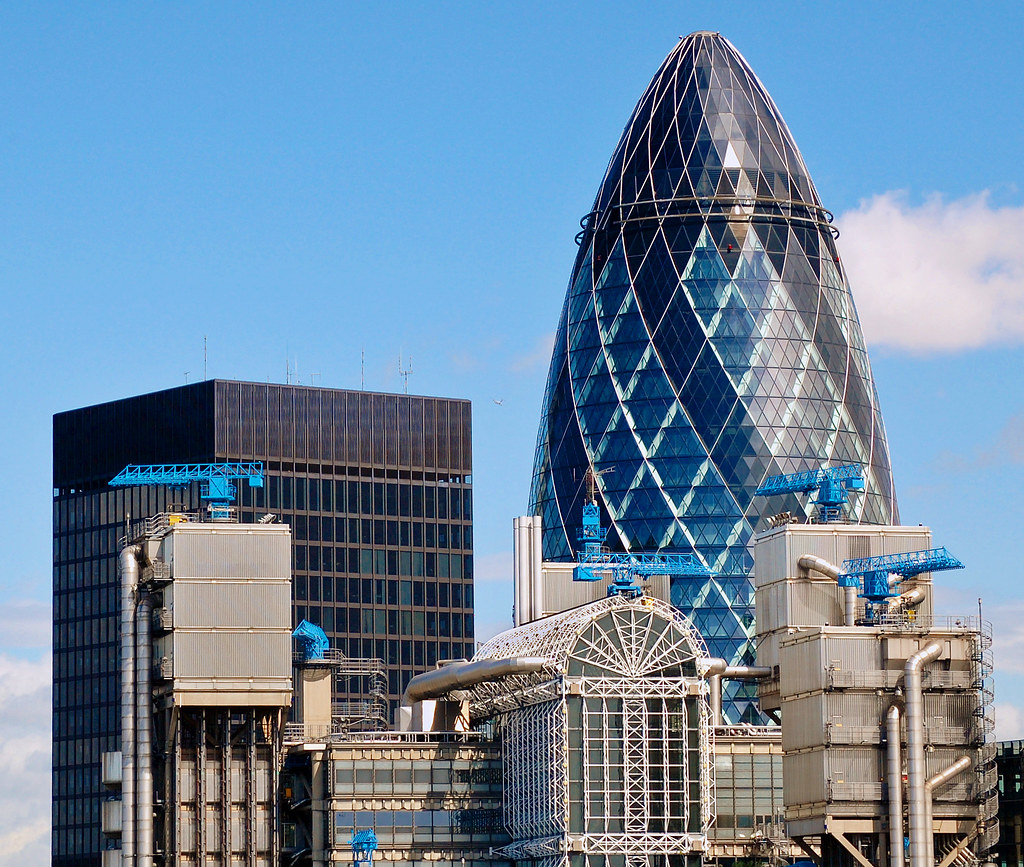 The Gherkin And The Lloyd S Building City Of London