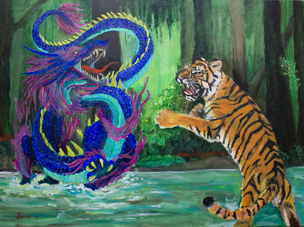 Dragon vs Tiger (60x80cm) | acrylic painting | Art Bart ...