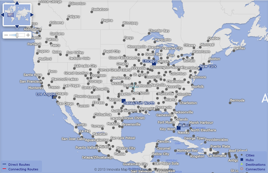 American Airlines Usa Destinations A Map Displaying The