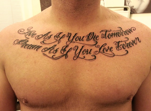 Chest writing tattoo chest writing tattoo steli london for Chest tattoo writing