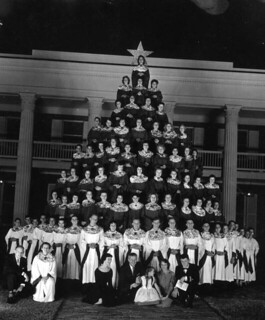 Governor LeRoy Collins and family in front of a living Christmas Tree at the Governor's Mansion in Tallahassee | by State Library and Archives of Florida