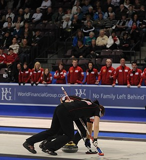 Penticton B.C.Jan13_2013.World Financial Group Continental Cup.Team North America lead Ben Hebert,second Jessica Mair.CCA/michael burns photo | by seasonofchampions