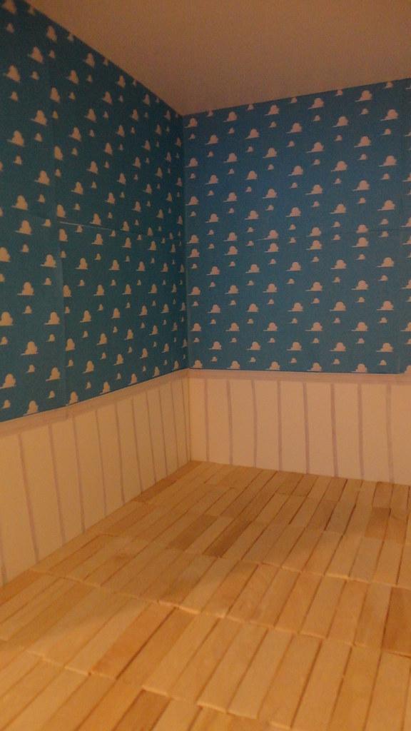 Andys Room In Progress Printed Cloud Wallpaper Hard Wood Flickr