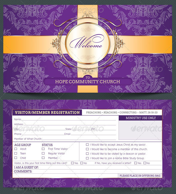 Church Visitor Registration Card Template