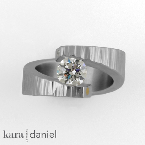 non-conflict Canadian diamond ~ tension-set in hammered st ...