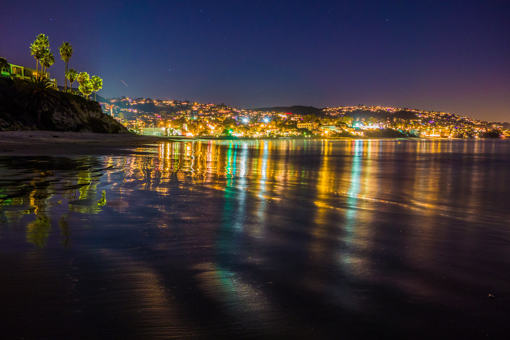 City Of Laguna Beach In Night