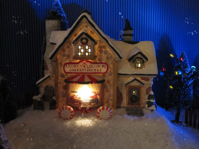 christmas village santas workbench licorce lollipops lighted house by halloweenchristmas village collector