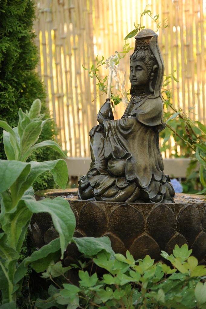 ... Quan Yin Fountain, Female Bodhisattva, In A Lotus Basin, Nectar, A  Garden