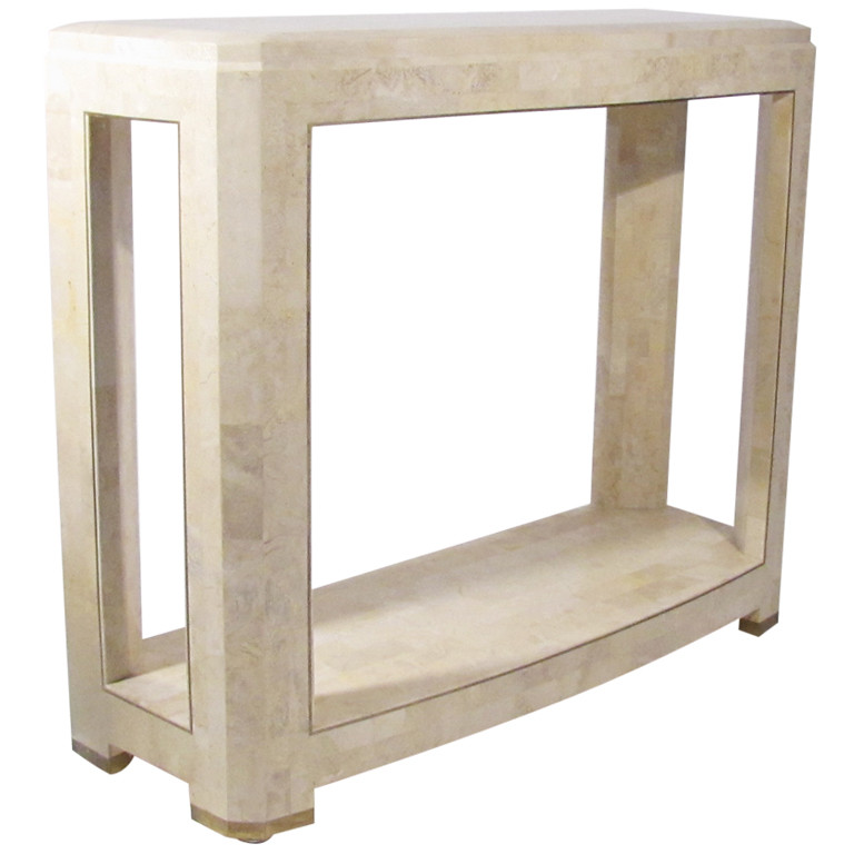 T  Maitland Smith Tessellated Stone Hall Table  By Orions Objects