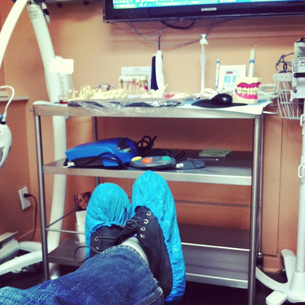 Waiting on the dentist chair about to get a crown stylin for Chair 9 hotel