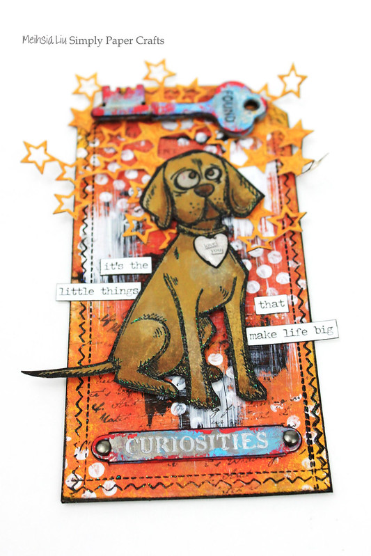 Meihsia Liu Simply Paper Crafts Mixed Media tag Tm Holtz Dog 4