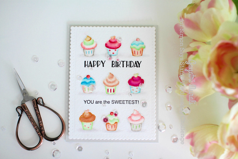 Cupcake birthday card flat