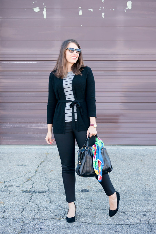 black banana republic tie cardigan + gray and black stripe tee + black ankle pants + black suede wedge heels | Style On Target blog