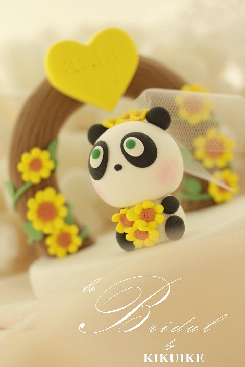 Panda Wedding Cake Topper with flower arch   www.etsy.com/li…   Flickr