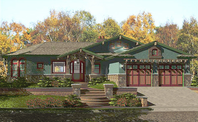 Cottage craftsman style prefab home plan 3 bedroom 2 5 for Craftsman style prefab homes