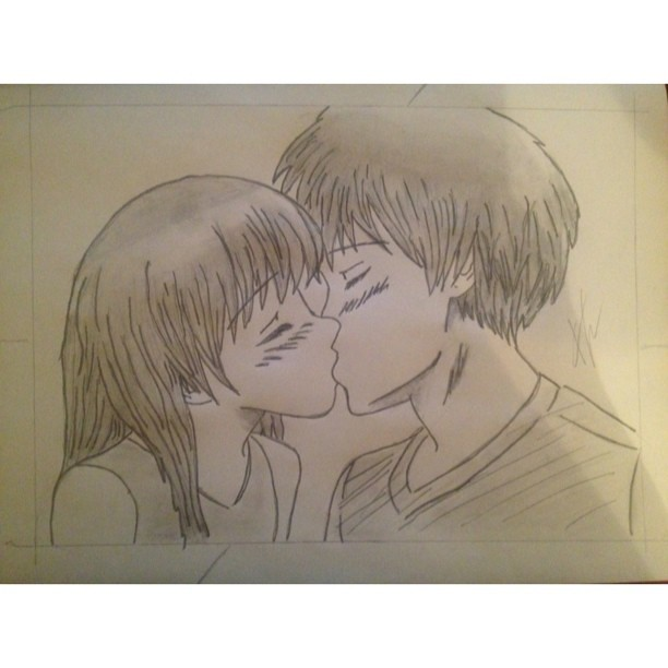 Drawing In Pencil Kiss Anime Art